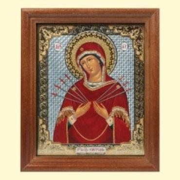 """Икона """"Семистрельная"""" 13x15 см, деревянная рама, под стеклом"""